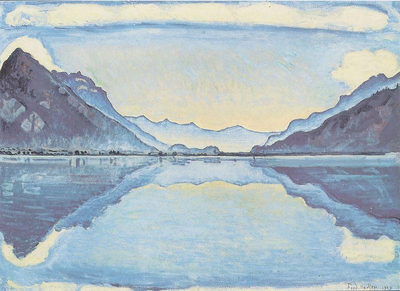 Thunersee mit symmetrischer Spiegelung 1909 Medium oil on canvas 67,5 x 92 cm - Musée d`art et d`histoire Genf