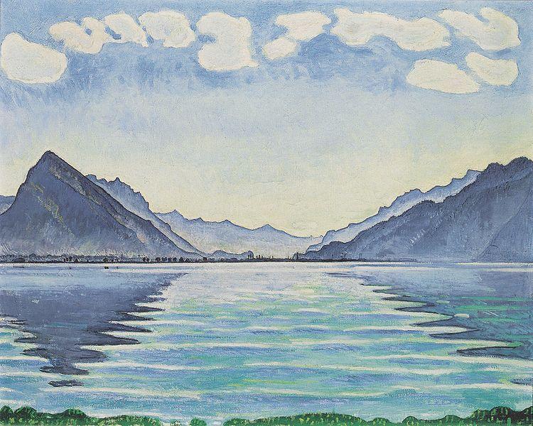 Thunersee mit symmetrischer Spiegelung Date 1905 Medium oil on canvas 78 x 99,5 cm Deutsch- Musée d`art et d`histoire Deutsch- Genf