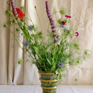 vase en verre rayures dorées